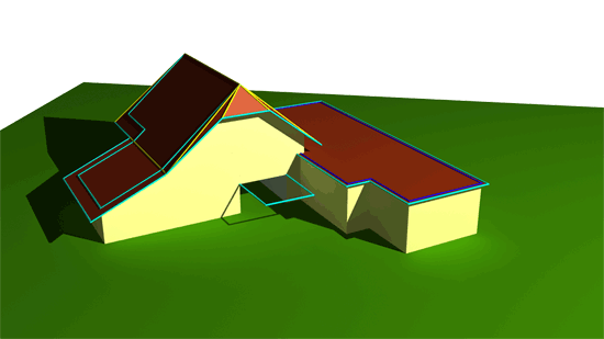 3D building model with passage and terrain model