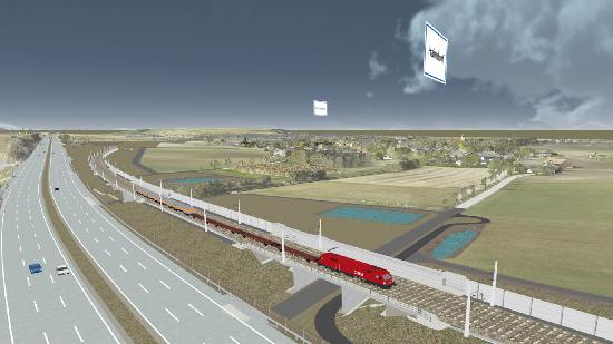 3D Simulation of a freight train railroad track near St. Pölten